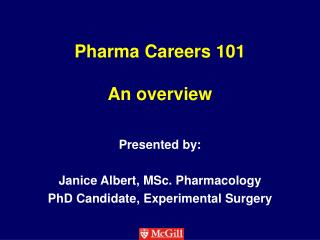 Pharma  Careers 101 An overview