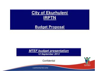 City of Ekurhuleni IRPTN Budget Proposal