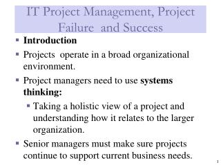 IT Project Management, Project  Failure  and Success