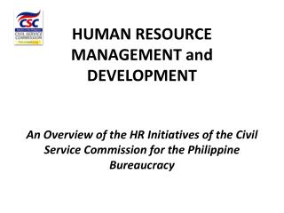 HUMAN RESOURCE MANAGEMENT and DEVELOPMENT