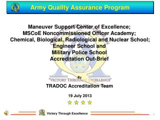 Army Quality Assurance Program