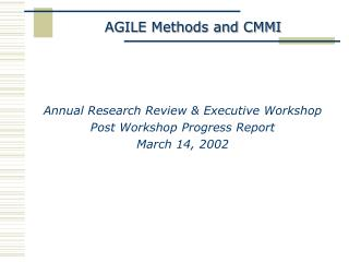 AGILE Methods and CMMI