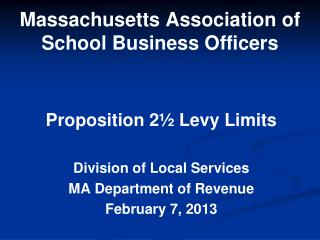 Massachusetts Association of School Business Officers