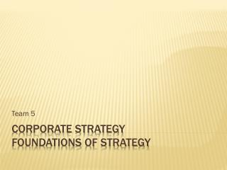 Corporate Strategy Foundations of Strategy