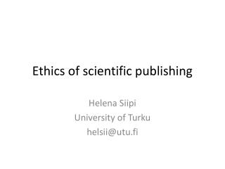 Ethics of scientific publishing
