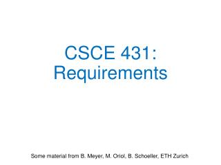 CSCE 431:  Requirements
