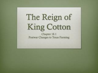 The Reign of King Cotton