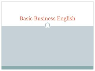 Basic Business English