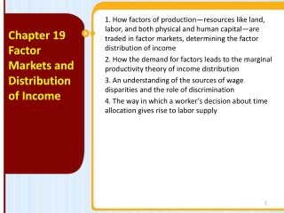 Chapter 19 Factor  Markets and Distribution of Income