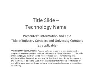 Title Slide –  Technology Name