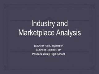 Industry and Marketplace Analysis