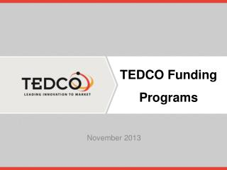 TEDCO  Funding Programs