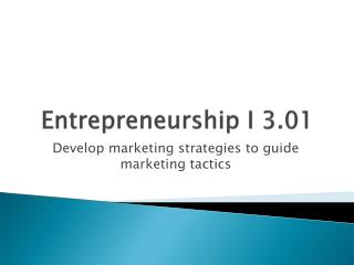 Entrepreneurship I 3.01