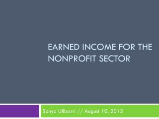 Earned Income for the Nonprofit sector