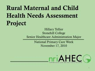 Rural Maternal and Child Health Needs Assessment Project
