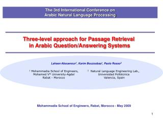 Three-level approach for Passage Retrieval  in Arabic Question/Answering Systems