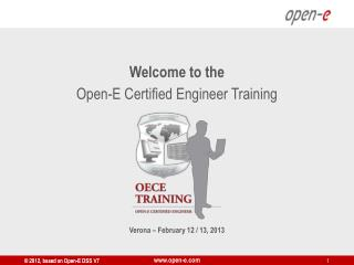Welcome to the Open-E Certified Engineer Training Verona – February 12 / 13, 2013