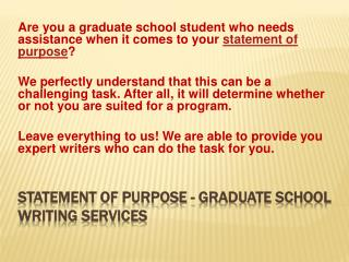 Statement of Purpose Graduate School