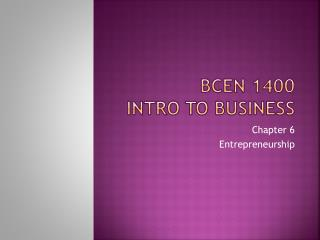 BCEN 1400 Intro to Business