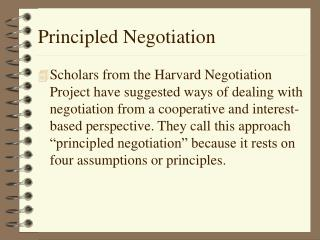 Principled Negotiation