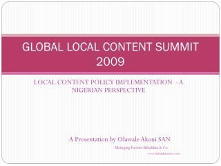 GLOBAL LOCAL CONTENT SUMMIT 2009