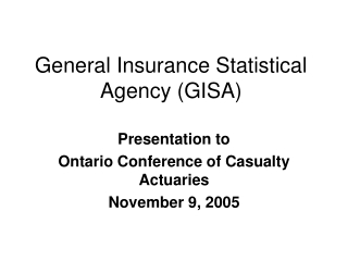 general insurance statistical agency gisa