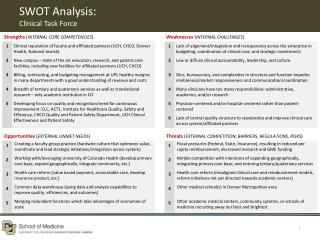 SWOT Analysis:  Clinical Task Force