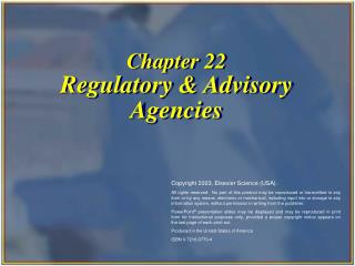 Chapter 22 Regulatory & Advisory Agencies