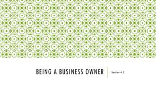 Being a Business Owner