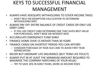 KEYS TO SUCCESSFUL FINANCIAL MANAGEMENT