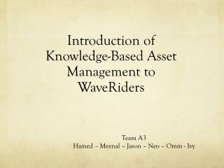 Introduction of Knowledge-Based Asset Management to  WaveRiders