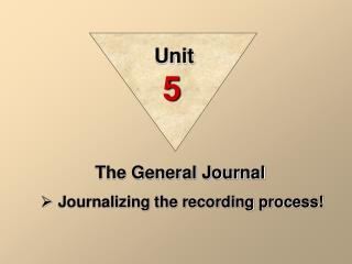 The General Journal Journalizing the recording process!