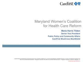 Maryland Women's Coalition  for Health Care Reform