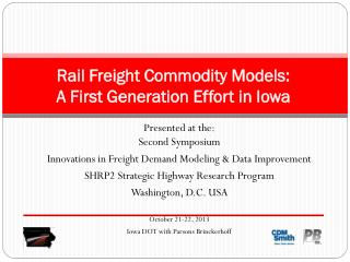 Rail Freight Commodity Models:  A First Generation Effort in Iowa