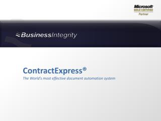 ContractExpress® The World's most effective document automation system