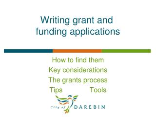 Writing grant and  funding applications