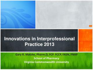 Innovations in Interprofessional Practice 2013