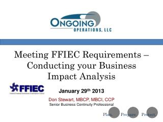 Meeting FFIEC Requirements – Conducting your Business Impact Analysis