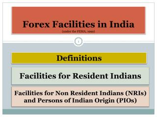 Forex  Facilities in India (under the FEMA, 1999)