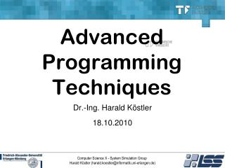 Advanced  Programming  Techniques
