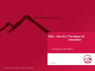 PCE – Part A(1) The Basic Of                             Insurance
