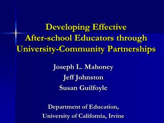 Developing Effective  After-school Educators through  University-Community Partnerships