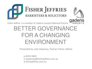 Better Governance for a Changing Environment
