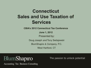 Connecticut   Sales and Use Taxation of Services