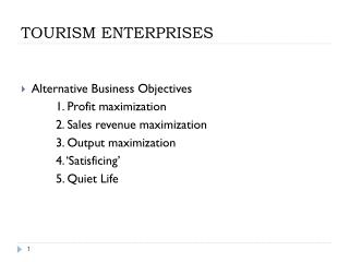 TOURISM ENTERPRISES