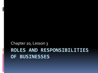 Roles and Responsibilities of Businesses