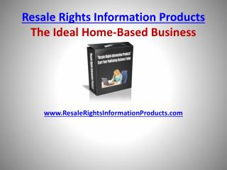 Resale Rights Information Products