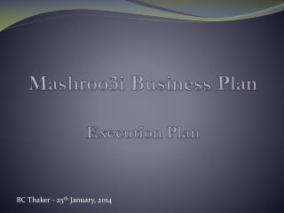 Mashroo3i Business Plan Execution Plan