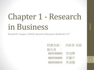 Chapter 1 - Research in Business