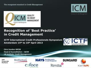 Recognition of 'Best Practice'  in Credit Management